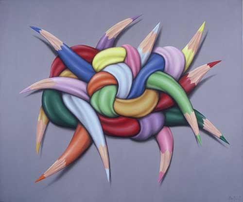 Ideas anudadas 100 x 120 acrilico sobre cassimir 2009